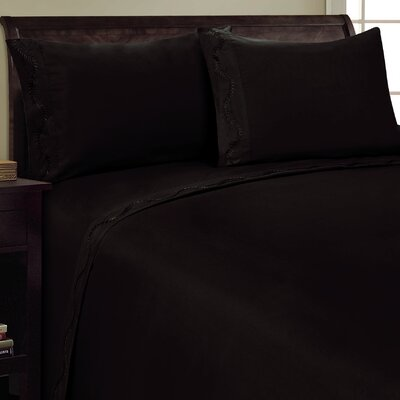 Dot Leaf Sheet Set Color: Black, Size: King
