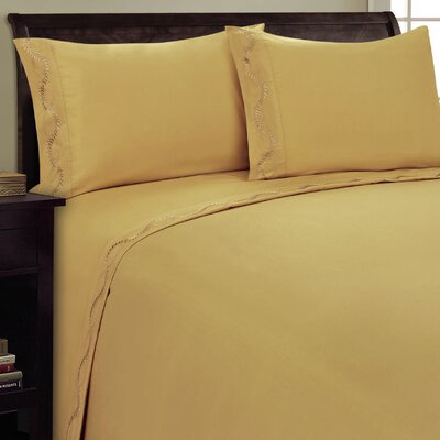 Dot Leaf Sheet Set Size: King, Color: Camel
