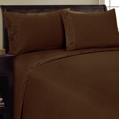 Dot Leaf Sheet Set Size: King, Color: Chocolate