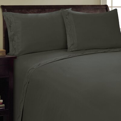 Dot Leaf Sheet Set Size: King, Color: Gray