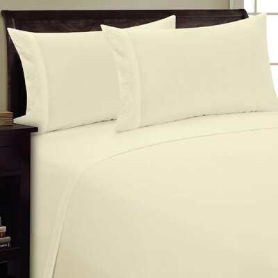 Dot Leaf Sheet Set Size: Queen, Color: Cream