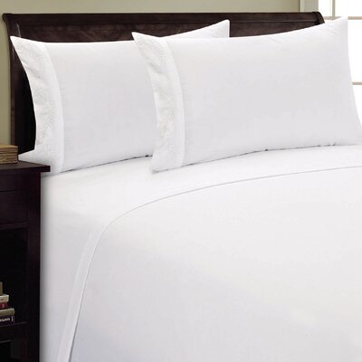 Dot Leaf Sheet Set Size: King, Color: White