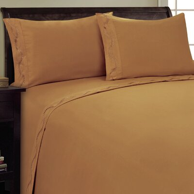 Dot Leaf Sheet Set Size: Queen, Color: Light Brown