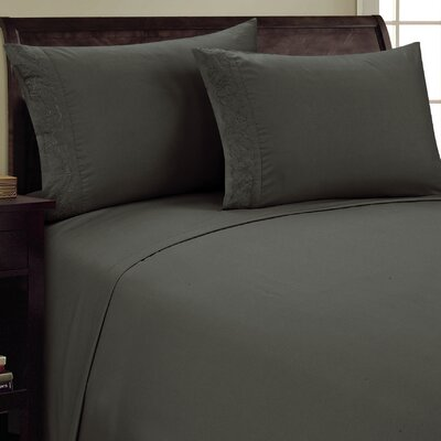 Scroll Design Sheet Set Size: Twin, Color: Gray