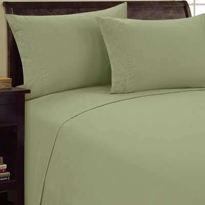 Scroll Design Sheet Set Size: King, Color: Sage