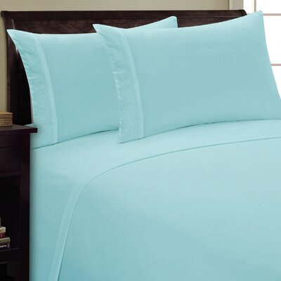 Scroll Design Sheet Set Size: Twin, Color: Aqua