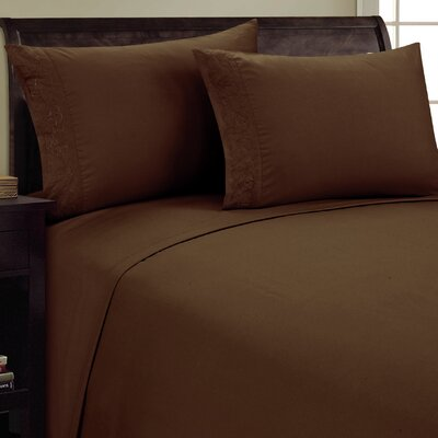 Scroll Design Sheet Set Color: Chocolate, Size: Queen