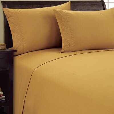 Scroll Design Sheet Set Color: Camel, Size: Queen