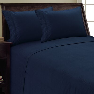 Scroll Design Sheet Set Color: Navy, Size: Queen