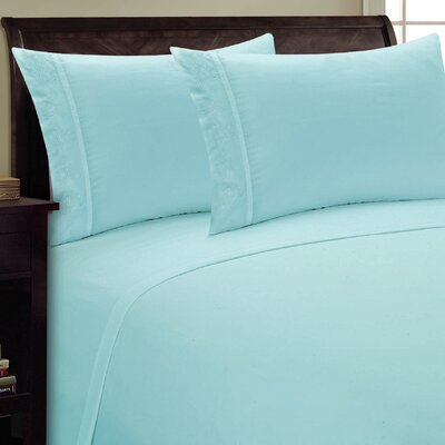 Lotus Leaf Sheet Set Color: Aqua, Size: King