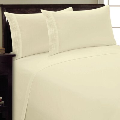 Two Line Sheet Set Size: Queen, Color: Cream