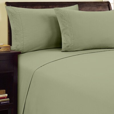 Fern Sheet Set Color: Sage, Size: Twin