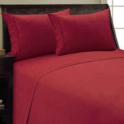 Fern Sheet Set Color: Burgundy, Size: Full