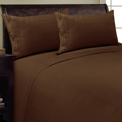 Two Line Sheet Set Size: King, Color: Chocolate