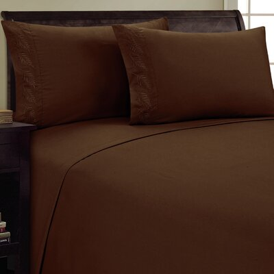 Fern Sheet Set Size: Queen, Color: Chocolate