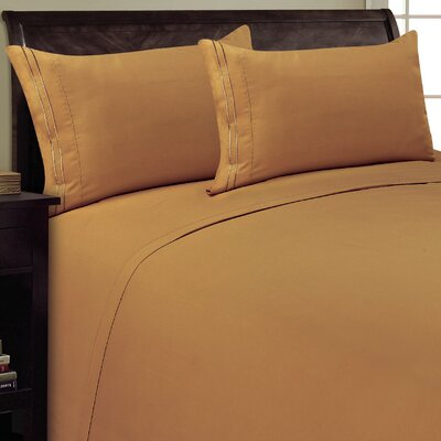 Two Line Sheet Set Size: King, Color: Light Brown