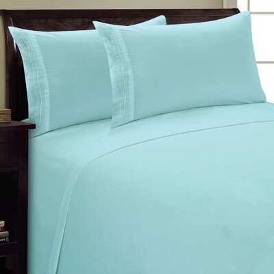 Two Line Sheet Set Size: King, Color: Aqua