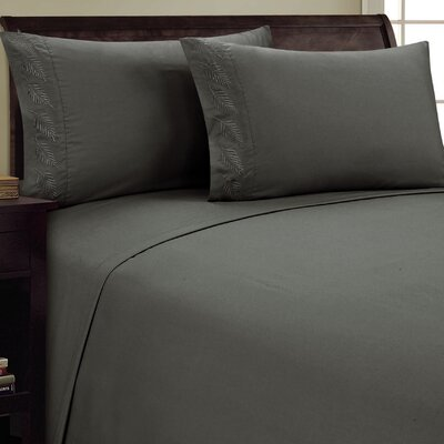 Fern Sheet Set Size: Queen, Color: Gray