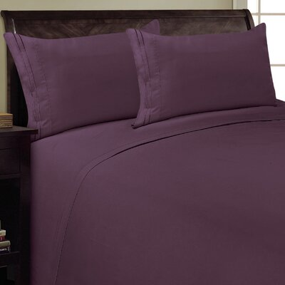 Two Line Sheet Set Size: King, Color: Eggplant