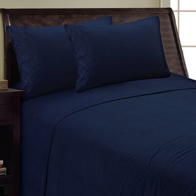 Fern Sheet Set Size: Full, Color: Navy