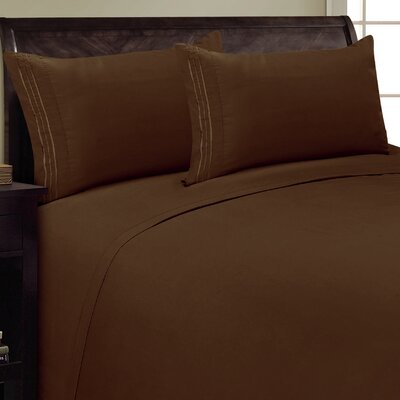 Three Lines Sheet Set Size: Queen, Color: Chocolate