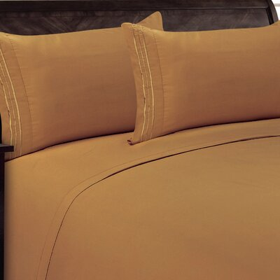 Three Lines Sheet Set Size: Twin, Color: Light Brown