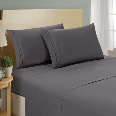Two Line Sheet Set Size: Queen, Color: Grey