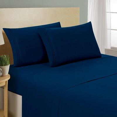 Two Line Sheet Set Size: Queen, Color: Navy