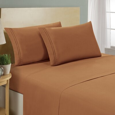 Two Line Sheet Set Size: Queen, Color: Light Brown