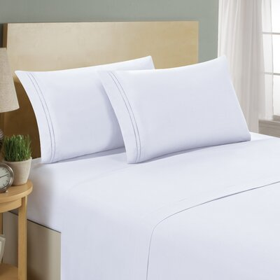 Two Line Sheet Set Size: Twin, Color: White