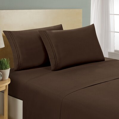 Two Line Sheet Set Size: Twin, Color: Chocolate
