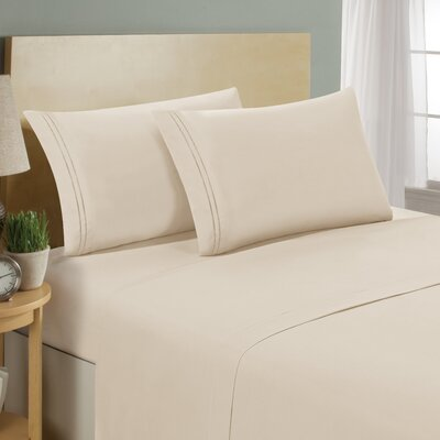 Two Line Sheet Set Size: Twin, Color: Cream