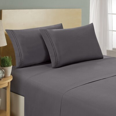 Two Line Sheet Set Size: California King, Color: Gray