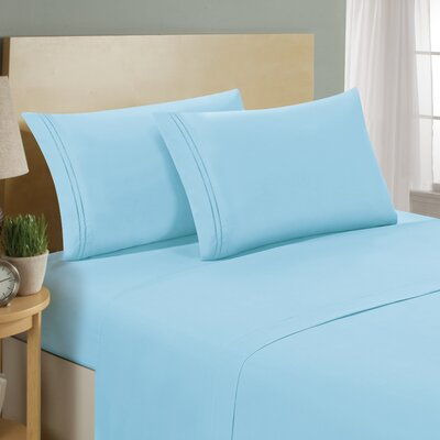 Two Line Sheet Set Size: California King, Color: Aqua