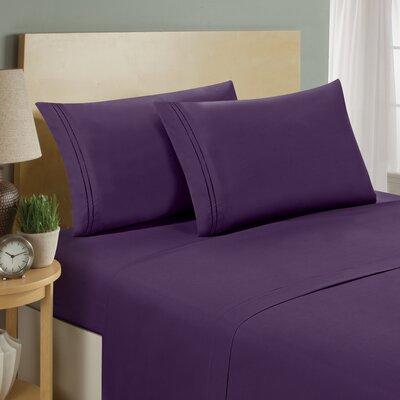 Two Line Sheet Set Size: Twin, Color: Eggplant