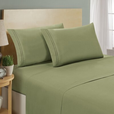 Two Line Sheet Set Size: King, Color: Sage