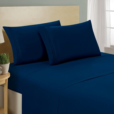 Two Line Sheet Set Size: King, Color: Navy