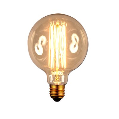 40W Amber E26 Incandescent Vintage Filament Light Bulb