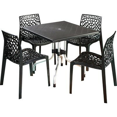 Escarcega Square Plastic Bistro Table Color: Black