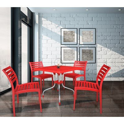 Escarcega Square Plastic Bistro Table Color: Red
