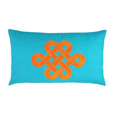 Fortune Knot Chinoserie Embroidered Throw Pillow Color: Teal