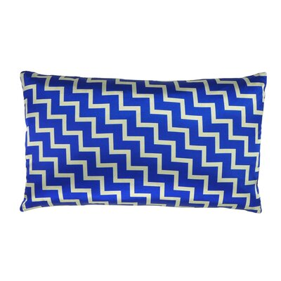 Stairs and Stripes Reversible Satin Lumbar Pillow Color: Blue