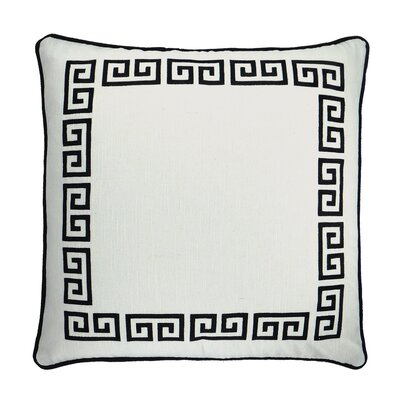 Greek Key Embroidered Throw Pillow Color: White / Black