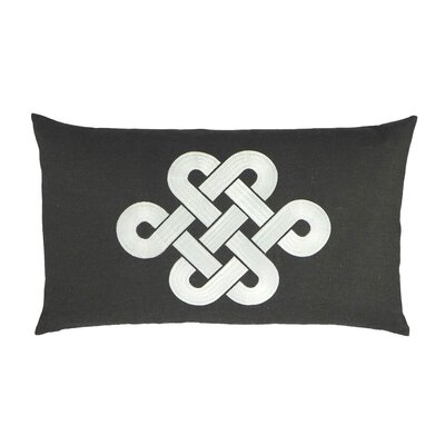 Fortune Knot Chinoserie Embroidered Throw Pillow Color: Brown