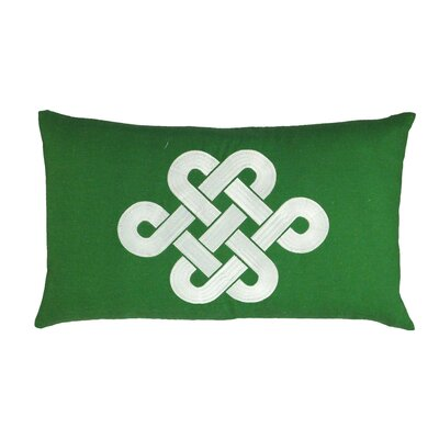 Fortune Knot Chinoserie Embroidered Throw Pillow Color: Green