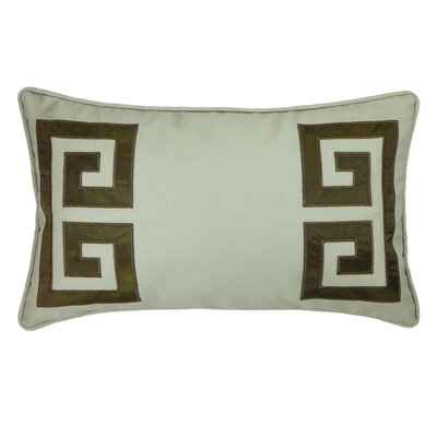 Parenthetikey Embroidered Greek Key Throw Pillow Color: Brown