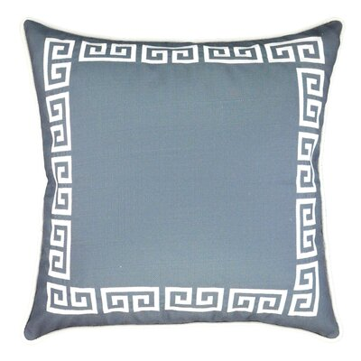 Greek Key Embroidered Throw Pillow Color: Gray