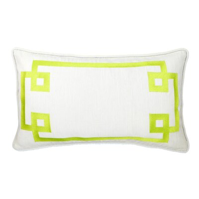 Deco Frame Embroidered Reversible Throw Pillow Color: Green