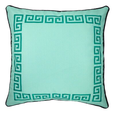 Greek Key Embroidered Throw Pillow Color: Green