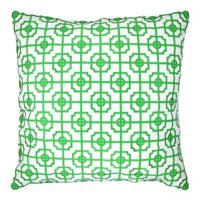 Lattice Fretwork Chinoserie Embroidered Throw Pillow Color: Kelly